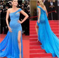 Wholesale Blake Lively Zuhair Murad Blue Dress Cannes Film Red Carpet Fashion One shoulder Beadings High Slit Formal Prom Dresses Evening