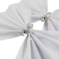 Vente en gros - 4pcs Diamond Crystal Clear Bow Serviette Anneau Wedding Party Favor Table Décoration Alliage strass