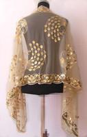 El mantón / la bufanda de seda moldeados del cequi de las nuevas mujeres chinas calientes chinas de la muchacha de la Al por mayor-Amarillo envuelve la flor del pavo real envío libre