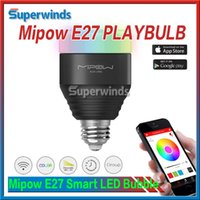 Wholesale 2016 Mipow E27 PLAYBULB Smart LED Bubble Ball Bulb Light V V W Wireless Bluetooth Smart Lamp Audio for Android ISO Free DHL