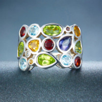 anillos genuinos de la plata esterlina de la piedra preciosa al por mayor-Hutang Genuine Multi-color Gemstones Sólido 925 Sterling Silver Cluster Anillo Para Joyería Para Mujeres al por mayor