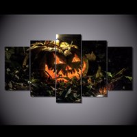 bat animal pictures - 5Pcs Set HD Printed halloween autumn background bats Painting Canvas Print room decor print poster picture canvas framed canvas painting art