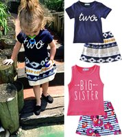 Girl big red skirt - Ins Girls Big Sister Leter Print Outfits pc Set baby Love T Shirt Pin Vest Infant Boys Girls Floral Tutu Skirt years