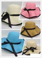Vintage Mujer Grandes Floppy plegable sombrero de paja Boho Wide Brim Beach Sun Cap con arco vacaciones de verano desgaste Accesorios de moda