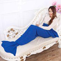 Wholesale Adult Mermaid Tail Blankets X95cm Mermaid Sleeping Bags Knit Sofa Nap Blankets Costume Cocoon Sofa Blankets KKA684