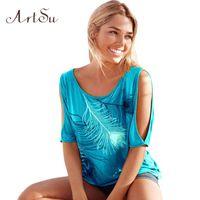T-Shirt Femmes Off Hommes Feather Imprimer manches courtes Summer Top Jumper T Shirt Femmes Femmes Tops Femme TS5116