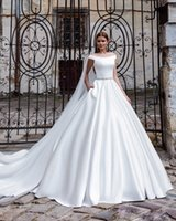 Discount jeweled bodice wedding - 2017 Off The Shoulder Jeweled Belt Chic Modern Simple A-Line Wedding Dress With Pockets Royal Train Plus Size