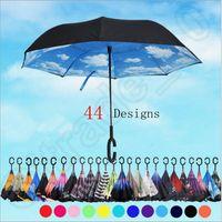 Wholesale Inverted Umbrellas Double Layer Protection C Hook Hands Inside Out Reverse Windproof Upside Down Umbrella designs Rain Umbrella OOA1120