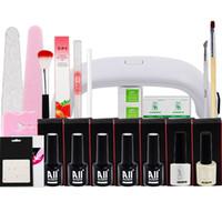 Wholesale DIY Nail Art Tool Set Nail Lamp Nail Brushes Bottles Nail Polish Top Base Coat With Remover Practice set