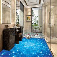 Wholesale Custom Waterproof Wallpaper For Bathroom Blue Wave Water droplets D PVC Wear Non slip Wall Paper Kitchen Vinyl Floor Wall Mural