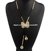 beaded butterfly choker - Elegant Butterfly Long Beaded Chain Tassel Necklace Women Rhinestone Office Lady Accessory Bohemia Costumes Jewelry Bijoux