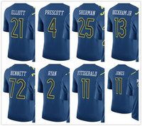 Wholesale Mens NFC All stars Navy Dak Prescott Julio Jones Aaron Rodgers Odell Beckham Jr Ezekiel Elliott Pro Bowl Jersey