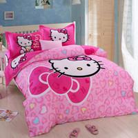 Wholesale Cartoon Hello Kitty Girls Bedding Set Duvet Cover Flat Sheet Pillow Case For Queen Twin Full Size Bed