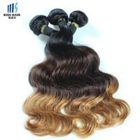 Cheap 3 Bundle Peruvian Body Wave Straight Hair T 1b 4 27 Ombre Remy Human Hair Extensions Peruvian Virgin Hair Bundles