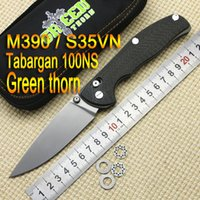 Wholesale Green thorn Tabargan NS M390 S35vn Axis folding knife double row ceramic ball Titanium carbon fiber hunting pocket EDC tool