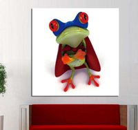Wholesale Modern Super Frog Framed Cartoon Animal Oil Painting Hand Painted Canvas Art Living Room Home Decor Wall Paintings A2G9