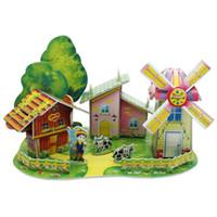 MICHLEY Niños Niños Niñas 3D Puzzle Jigsaw Espuma Molino de viento para niños Juegos educativos Puzzles Juguetes 1T0161-paomofengche