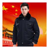 Wholesale Lstest Version Army Coat Thick Warm Cotton Coat Security Personnel Overall Superior Fabric Anti dust Six Size Navy Color