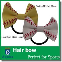 baseball stocks - 2016 Real Softball baseball football soccer hair bow hair flower color in stock