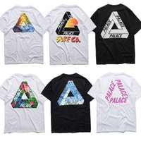 basic beige - 2016 fashion brand clothing Palace Skateboards Classic Triangle Print T shirt Men Basic Summer Noah Hip hop Cotton Short Sleeves T shirt Tee