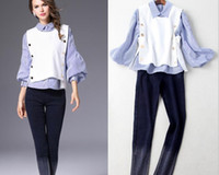 Wholesale 2016 Europe and the United States fall new women s lapel Puff Sleeve Striped shirt vest Slim pants three pieces