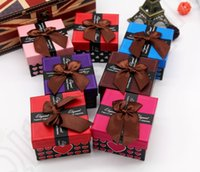 Wholesale Heart Bowknot Square Gift Box Watch Case Bracelet Bangle Jewelry Storage Holder Display Box colors Christmas Gift Box OOA1004