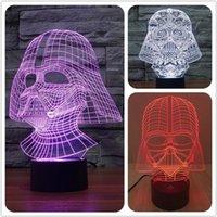 Cadeau de Noël Star Wars Black Knight LED 3D lumineux coloré 7 couleurs changeables stéréoscopique lumière de la nuit visuelle magique USB LED lampe de table Nouveau
