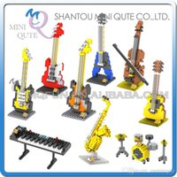 bass guitar building - DHL Mini Qute LOZ musical instrument Guitar Bass Violin plastic building block brick model Action Figures educational toy