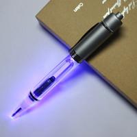 Wholesale LED light ballpoint pen LED Glow light up pens Metal material pieces Light ballpoint pen with Velvet bag in one Gift box
