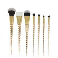 Wholesale New pc Gold Unicorn Makeup Brushes Set Rainbow Hair Eyeshadow Powder Beauty Tool DHL