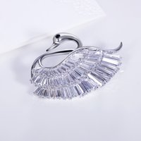 asian jets - DC1989 New Beautiful White Swan Brooch pins accessories for women Platinum plated Clear White Jet AAA Cubic zirconia