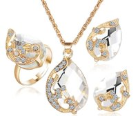 Wholesale Contracted romantic elegant dream only beautiful Christmas three piece zircon droplets pendant necklace earrings ring suits female