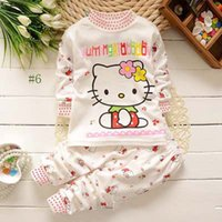 Wholesale Hello kitty Children clothing sets Baby girl Top pants suit Kids cute toddler girl clothes Y