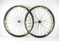 Wholesale With mm width Kinds of Hubs Yellow logo USU mm carbon bike Wheels usu mm road bike carbon wheels