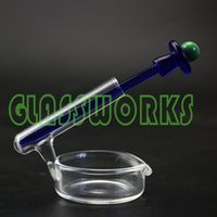 Wholesale glass ash tray smoking wax dish with oil dabber holder pipe match color carb cap dabber shipping color radom