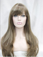 beautiful hair highlights - beautiful light brown w blonde highlight straight lady long synthetic hair wig