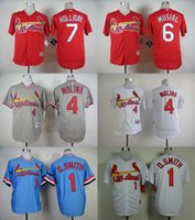 Baseball Men Short 2017 St. Louis Cardinals #1 Ozzie Smith #4 Yadier Molina #6 Stan Musial Stitched Baseball Jerseys Free Shipping