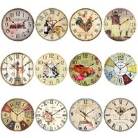 antique kitchen sets - Vintage Wooden Wall Clock Large Shabby Chic Rustic Kitchen Home Antique Style