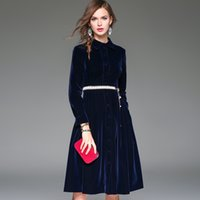 Wholesale 2016 Autumn Women Long Sleeve Blue Fashion Casual Dress