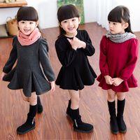 Wholesale 2016 new children dress in autumn and winter color girl dresses long sleeved plus velvet bow Cute Princess Dress