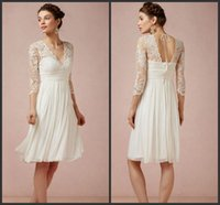 Wholesale Knee Length Sexy Trumpet Wedding - Deep V Neck Dresses For Short Wedding Dresses Ivory Bridal Gown Knee Length Chiffon Dresses Iullsion Sexy Backless Cheap Price Beautiful