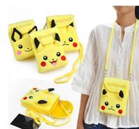 Mini sac à dos Pikachu Coin Purse Peluche Double-couche Téléphone Paquet Sac Porte-clés Femmes Enfants Cartoon Mini Eevee Portefeuilles Portefeuilles 6 Styles