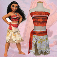 Wholesale New Fashion Moana Cosplay Clothing Sets for Adult Women and Girls Also Can Be Family Fitted Mother Daughter Top Belt Skirt Grass Skirt