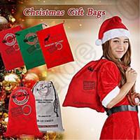 Wholesale Christmas Drawstring Bag Large Canvas Gift Bag Xmas Santa Elk Sack Bag Storage Bag Stocking Candy Bag OOA988
