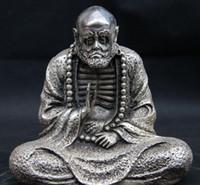 arhat buddhism - Tibet Buddhism White Copper Silver Statue Arhat Dharma Damour Bodhidharma Buddha