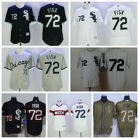 Wholesale 2016 Chicago White Sox Carlton Fisk Jersey Men Fashion MLB Flexbase Baseball Jerseys Pullover Cool Base White Pinstripe Grey Black Camo