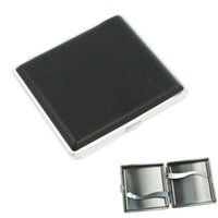 Wholesale New Sale Black Silver Press Button Faux Leather Metal Cigarette Case Holder