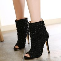 b eds - New Spring And Autumn High heeled Boots Open Toe Rivet Thin Heels Ankle Boots Women s Pumps High Heel ed Pointed Peep Toe Shoes