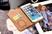 Precio de Teléfonos celulares casos de cuero-Caso de lujo del cuero de la carpeta de la tela escocesa de la marca de fábrica para el iPhone 7 más 6S 6 más la cubierta retra del teléfono celular de la vendimia de la ranura para tarjeta del soporte del note7 del borde 7 de la galaxia S7 S6