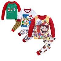 Wholesale Christmas Children Super Mario Warm Cotton Clothing Suit Baby Girls Boys Deer Pyjamas T shirt Stripe Pants Kids Pajamas Set